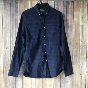 J. Crew Men's Navy Blue and Red Button Down Size M